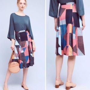 Anthropologie | Maeve Cubist Geometric Midi Skirt
